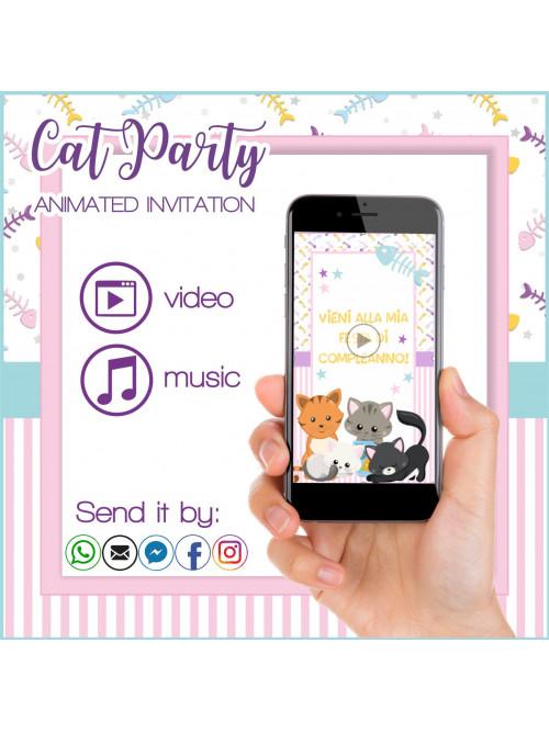 CAT PARTY ANIMATED INVITATION