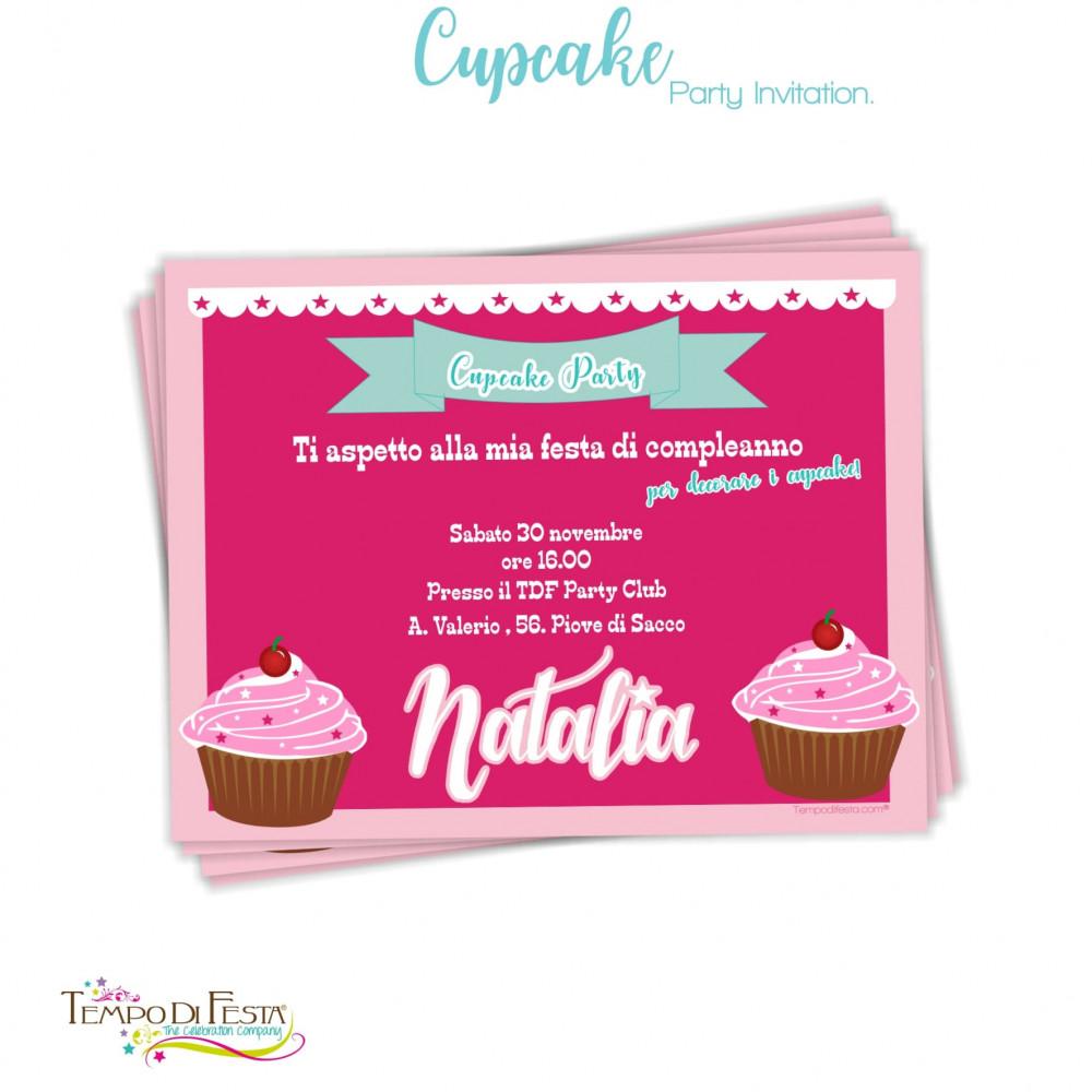 invito di compleanno a tema cupcake