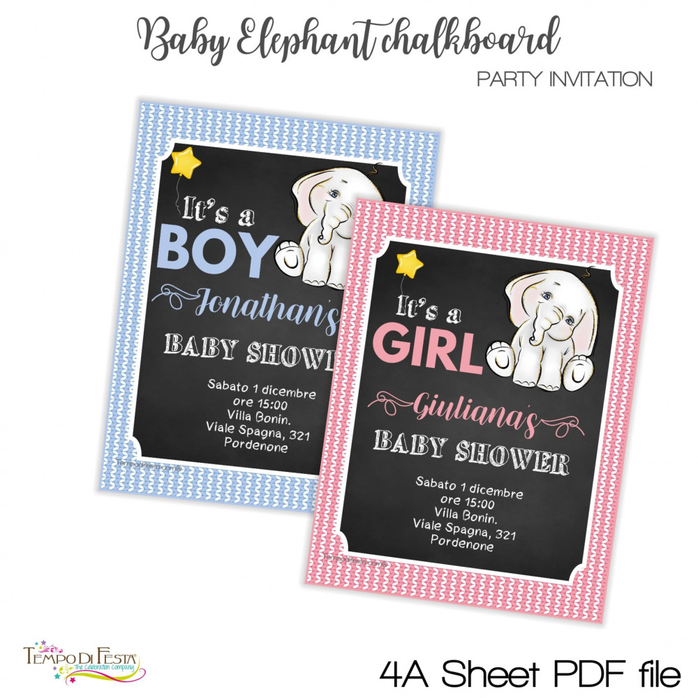 inviti baby shower elefante