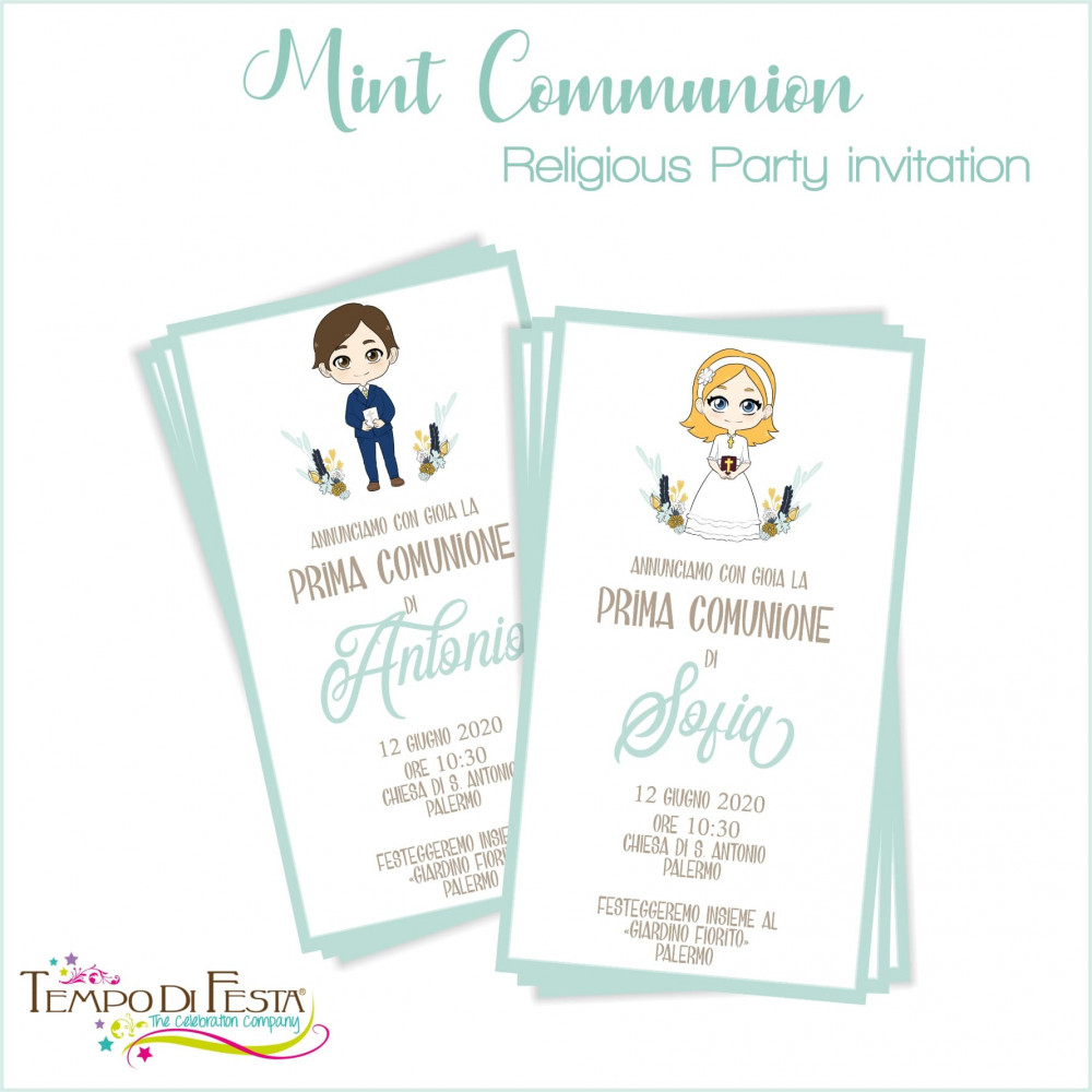 FIRST COMMUNION MINT THEME PARTY INVITATIONS