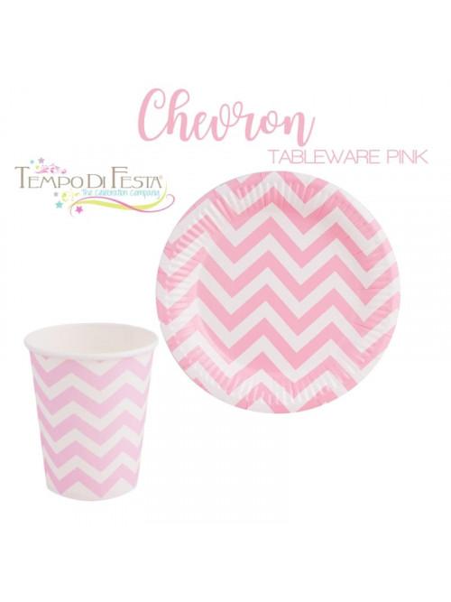 CHEVRON PINK PAPER PLATES...
