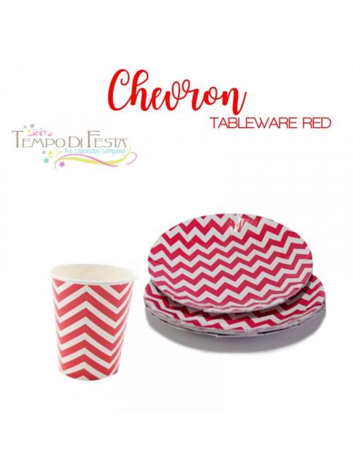 CHEVRON RED PAPER PLATES...