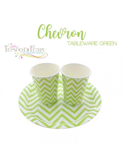 CHEVRON GREEN PAPER PLATES...
