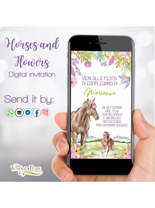 HORSES AND FLOWERS DIGITAL BIRTHDAY INVITATION WHATSAPP