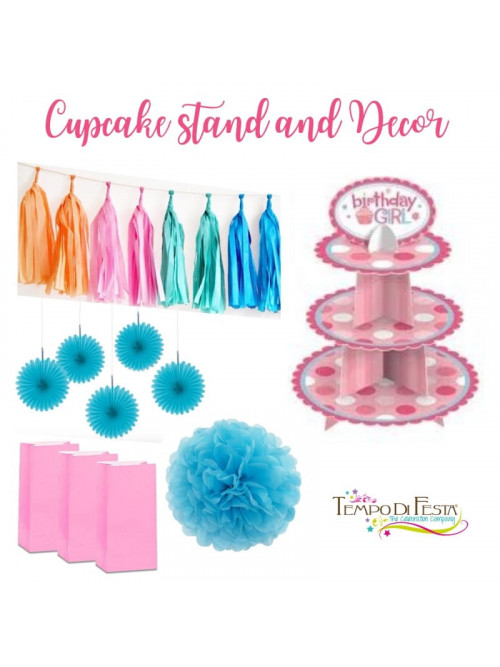 Soporte para cupcakes y decoraciones de fiesta
