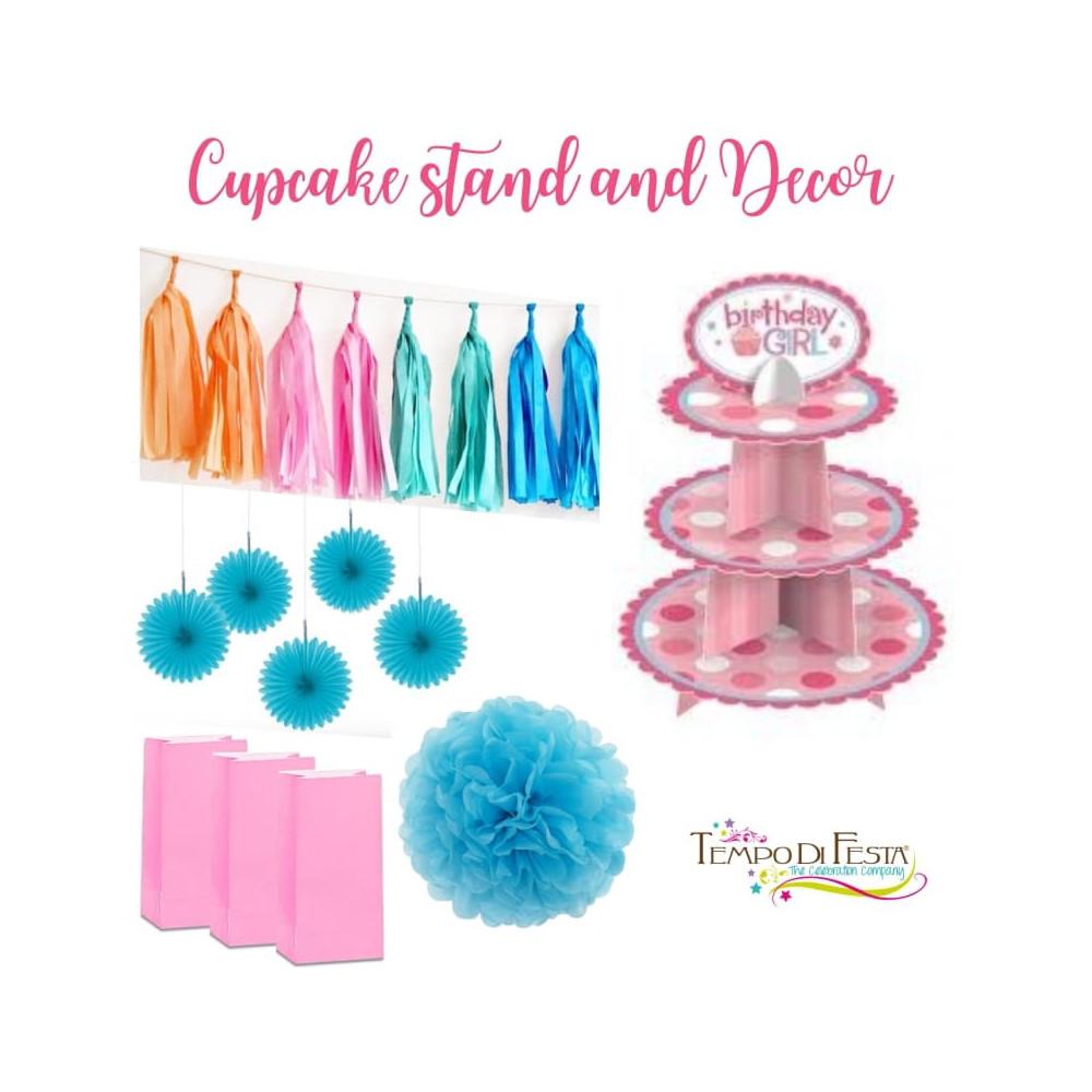 Alzata per cupcake e decorazioni per festa