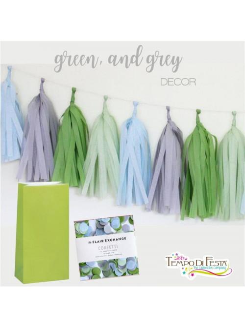 Decoración para la fiesta Verde y Gris