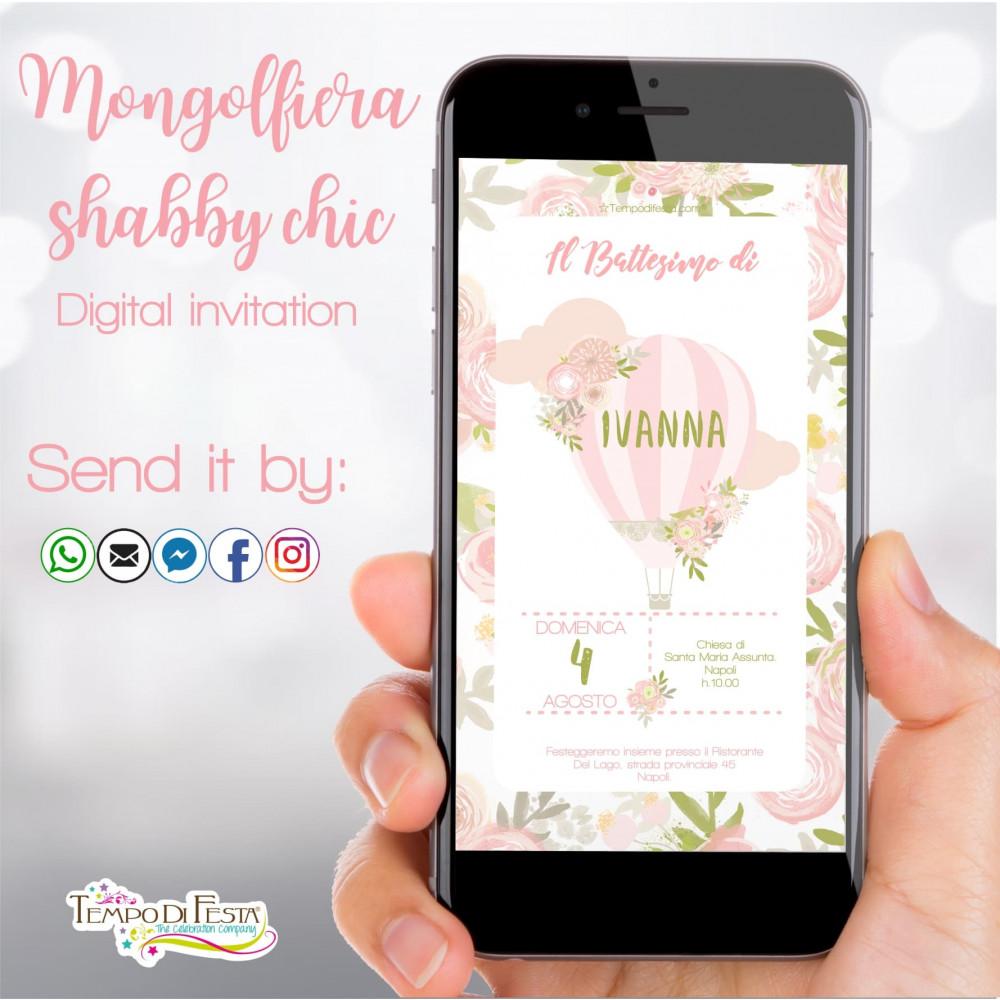 MONGOLFIERA SHABBY CHIC INVITO DIGITALE WHATSAPP