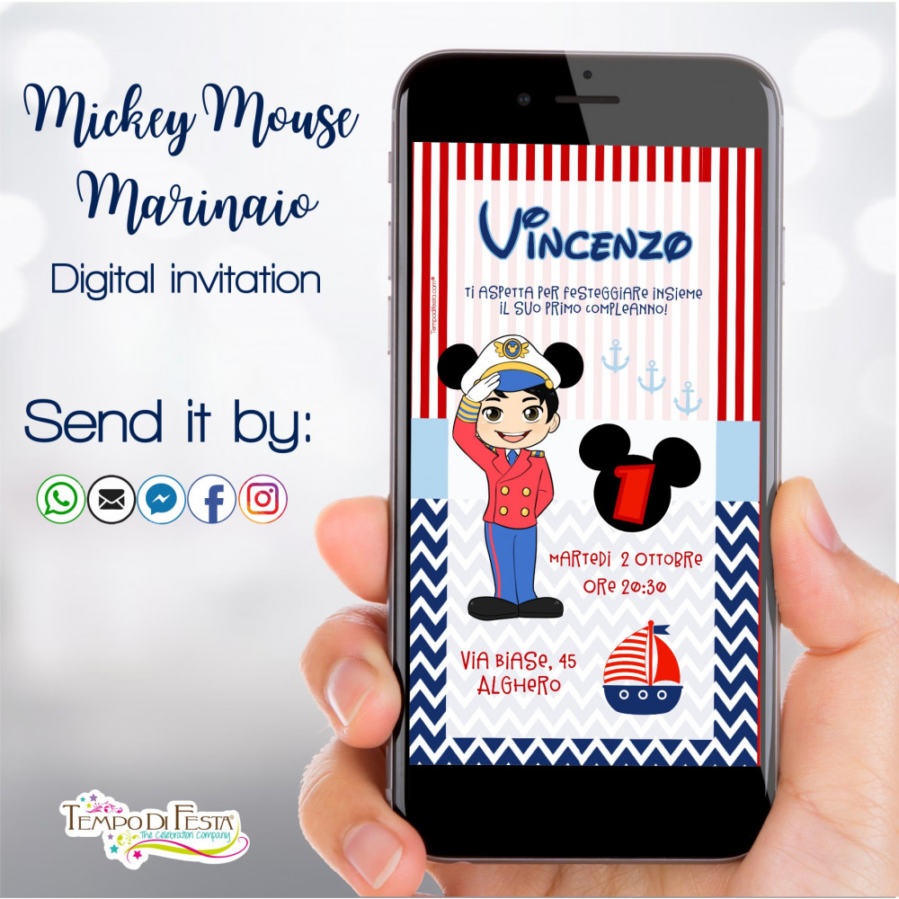 MICKEY MOUSE MARINERO INVITACIÓN DIGITAL WHATSAPP