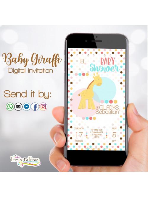 Jirafa bebè Baby Shower Invitation digital whatsapp