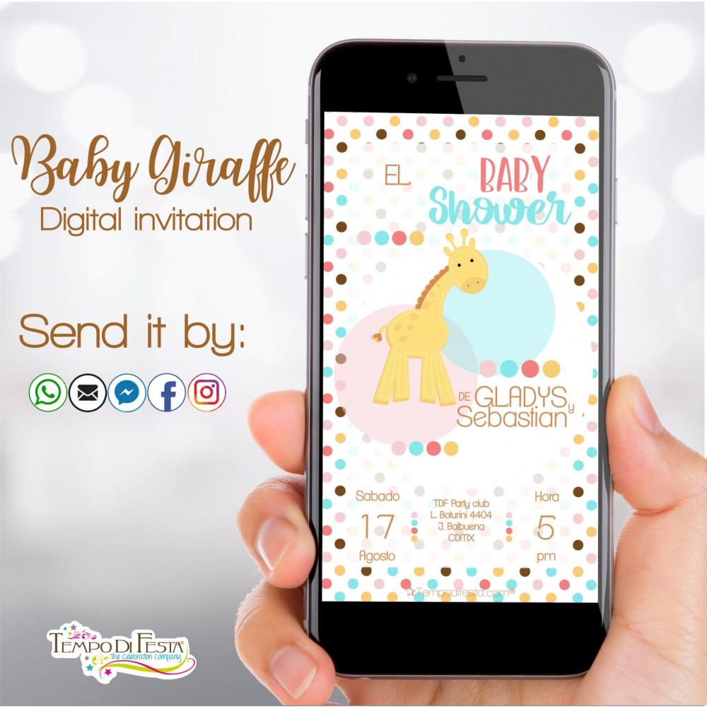 Giraffa Baby Shower invito digitale whatsapp
