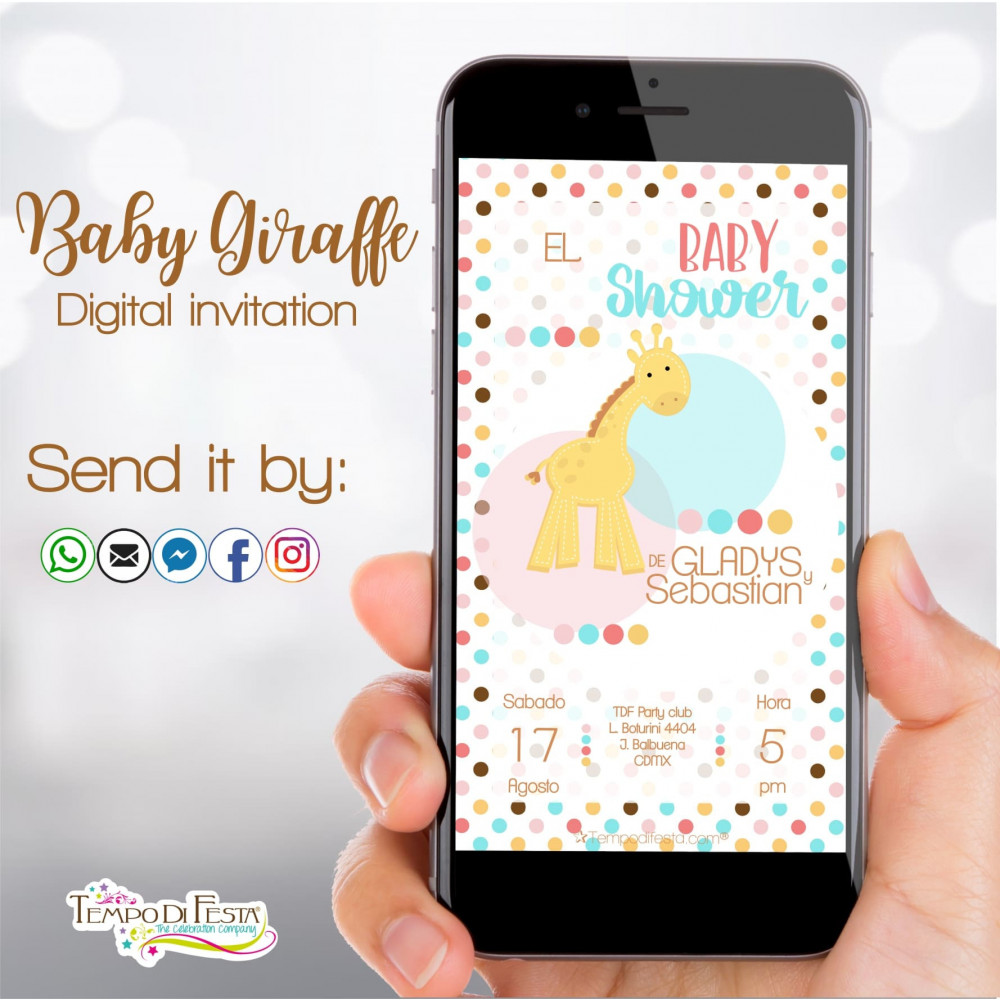 Jirafa bebè Baby Shower Invitation digital whatsapp