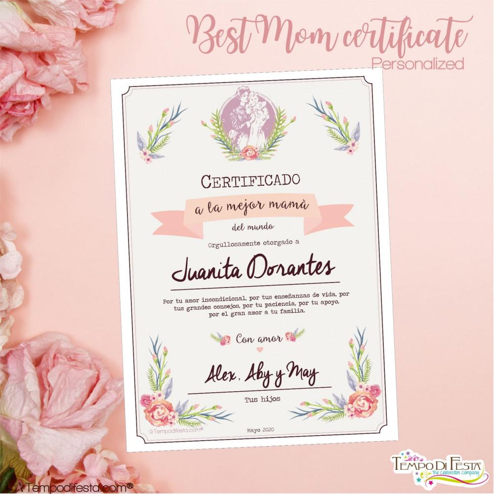 Certificato alla migliore mamma personalizzato. festa della mamma