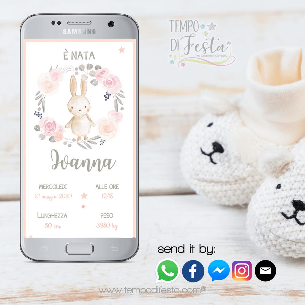 little rabbit birth announcement