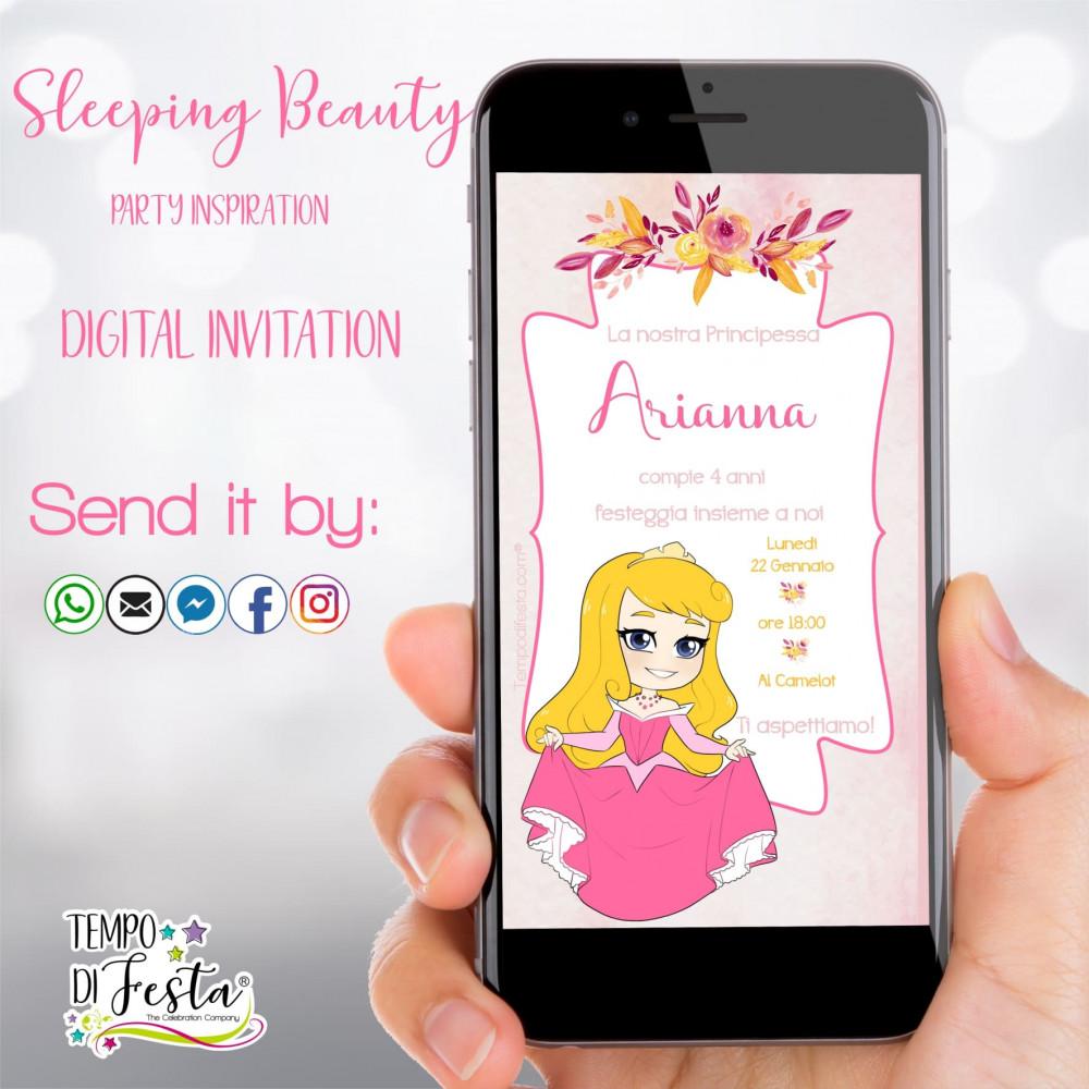 Sleeping beauty digital invitation whatsapp