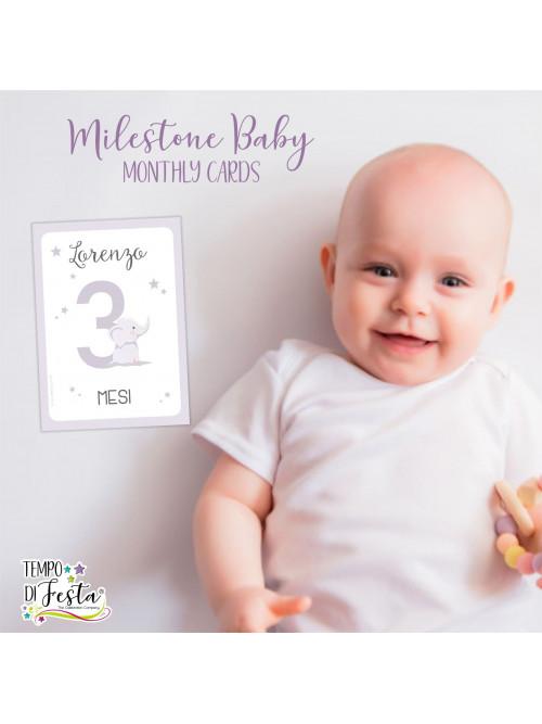 Milestone baby cards elephant
