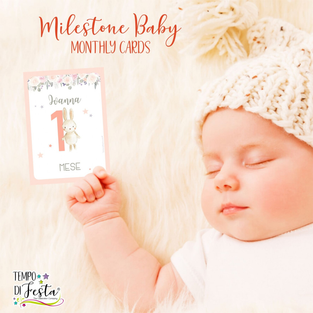 First year of the baby monthly milestone cards, forest animals