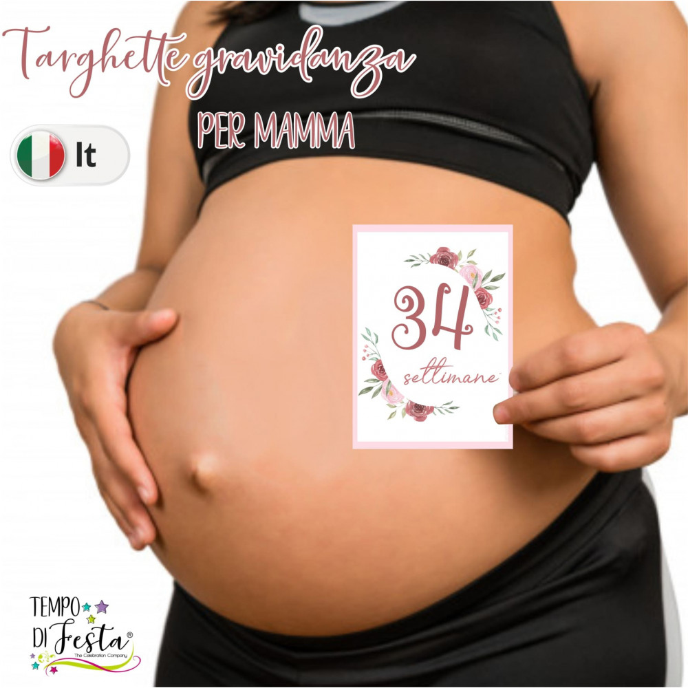 Milestone pregnancy cards flower themed in ITALIAN