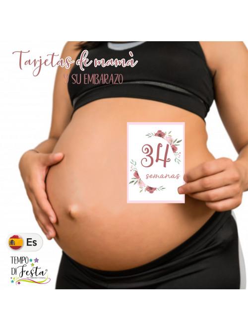 Tarjetas de embarazo tematica flores en ESPAÑOL