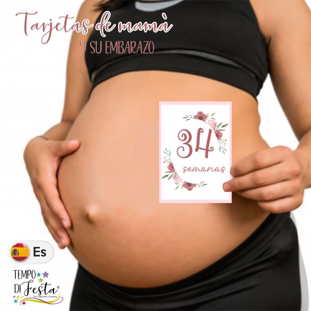 Milestone pregnancy cards flower themed in SPANISH