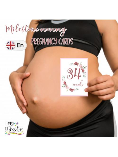 Tarjetas de embarazo tematica flores en INGLES