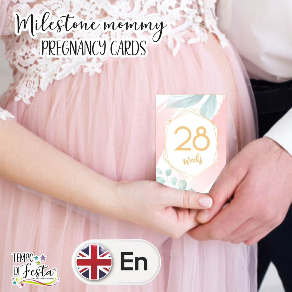 Milestone pregnancy cards Modern romantic themed in ENGLISH