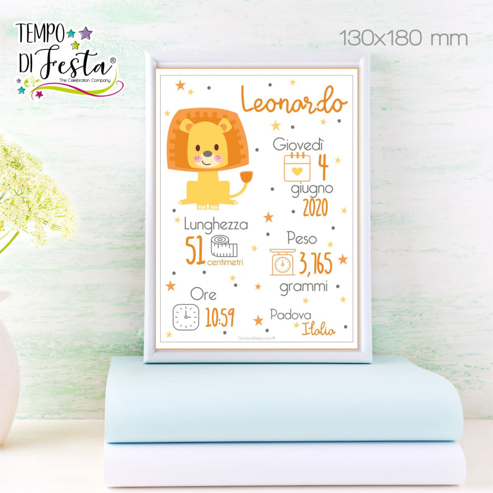 PERSONALISED LION BIRTH PRINT