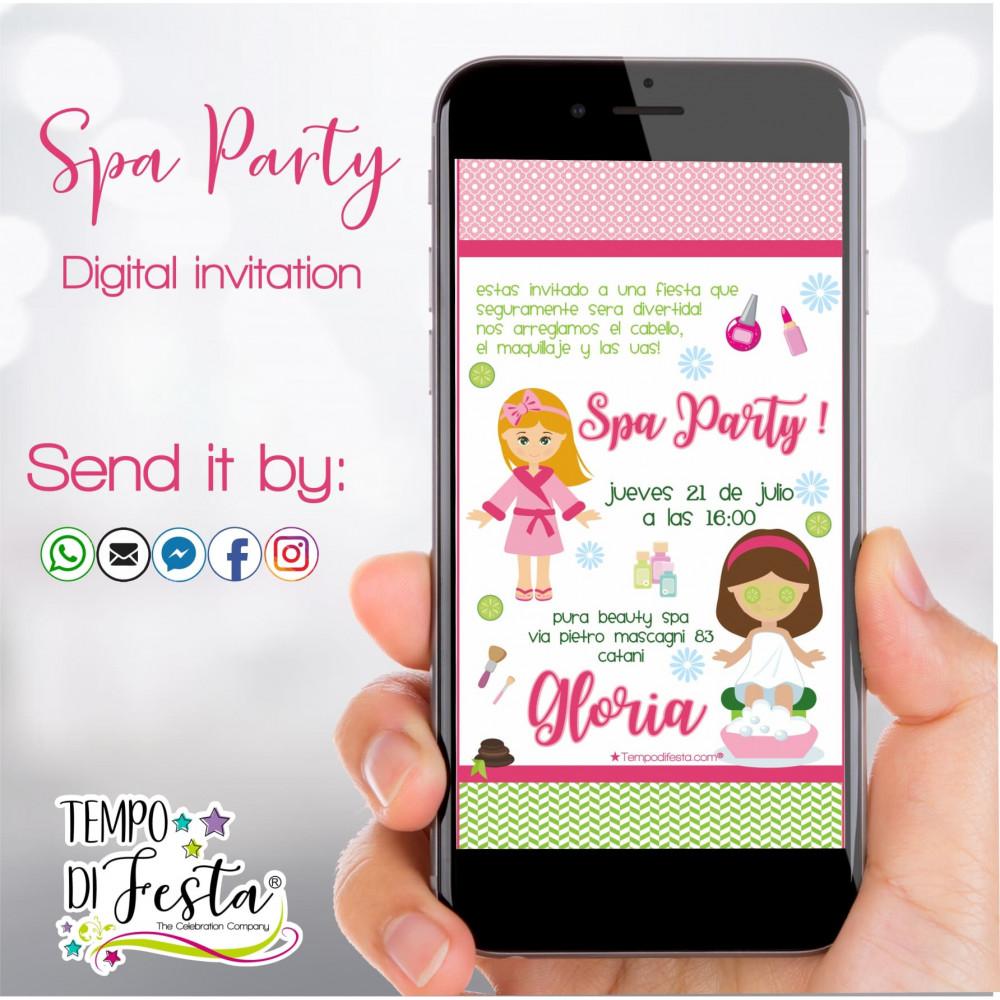 Invito digitale a tema Spa Party per WhatsApp