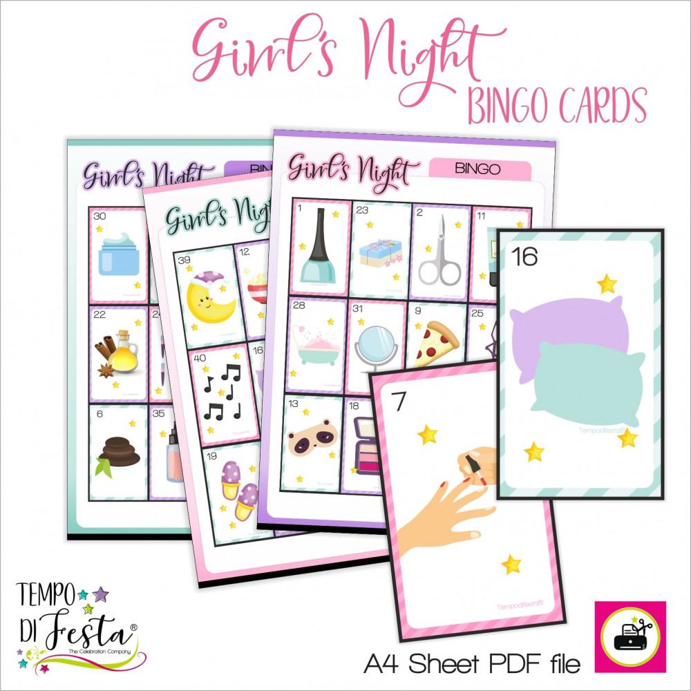 Bingo Girl's Night per festa a tema SPA e pigiama party.