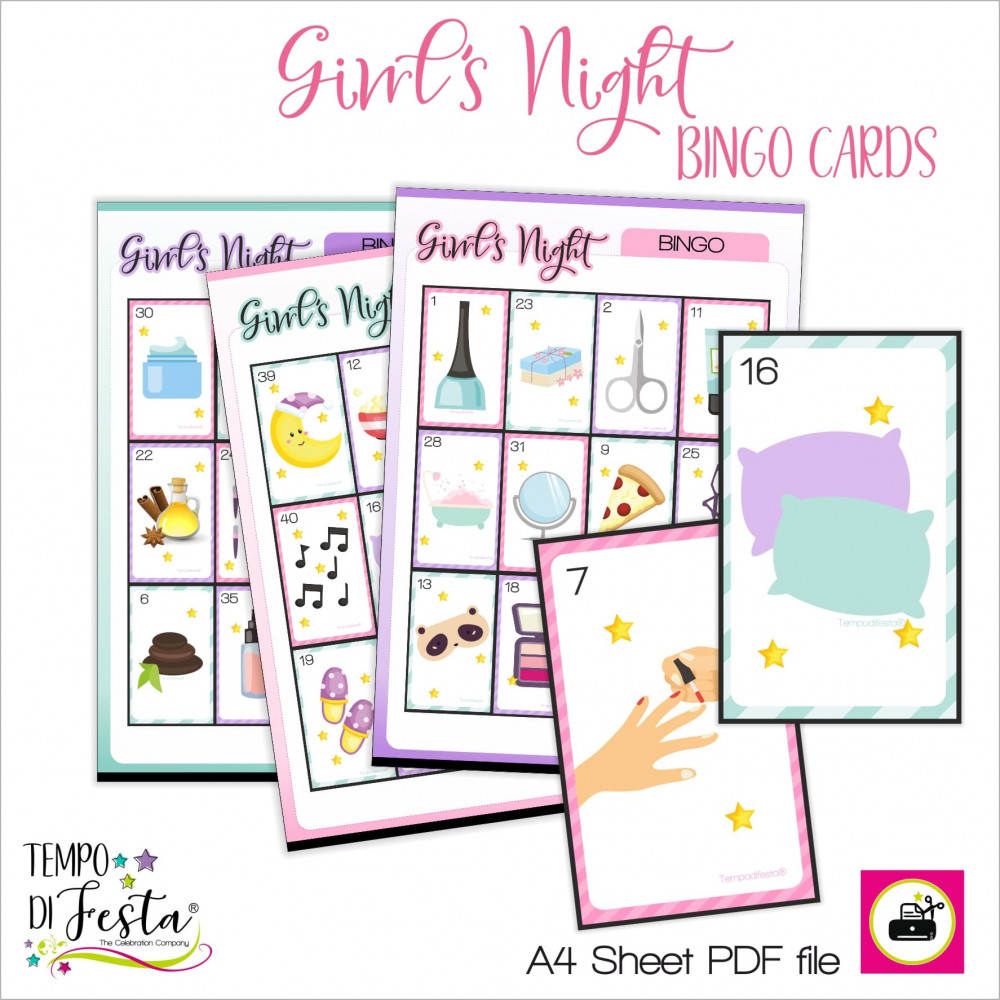 Bingo Girl's Night for the SPA themed party and the pajamas party.
