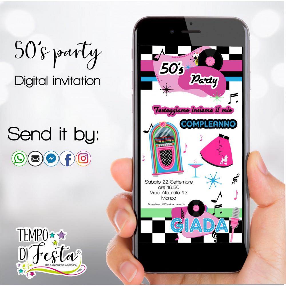 Inviti digitali a tema Anni 50  WHATSAPP