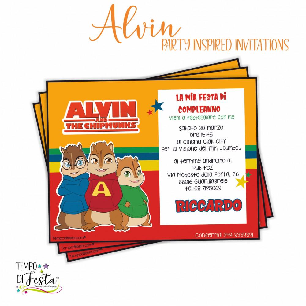 Invitaciones inspiradas en Alvin y las ardillas