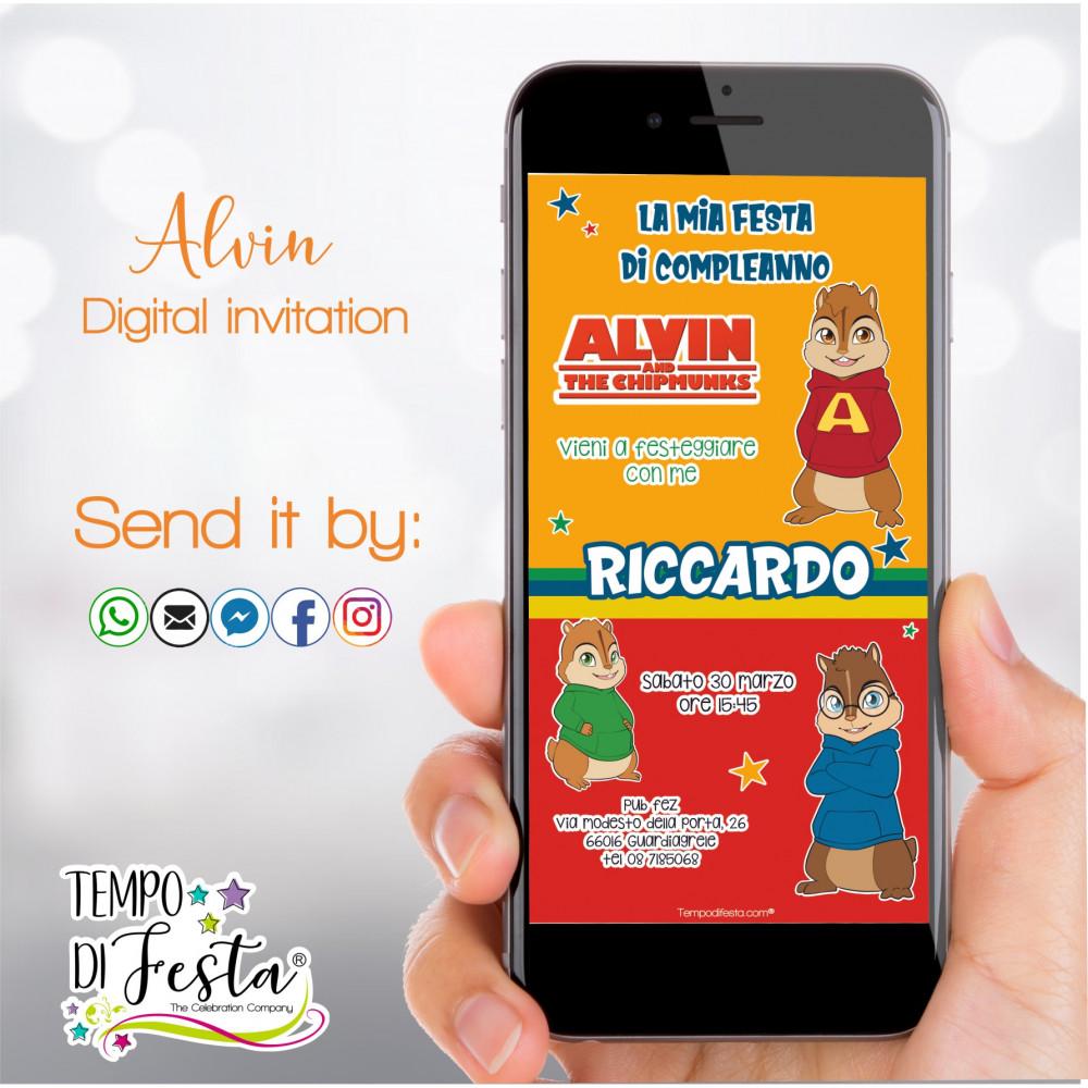 Invitaciones digitales inspiradas en Alvin y las Ardillas, para enviar a través de WhatsApp
