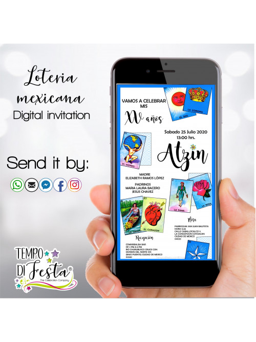 Invitaciones digitales con la temática de la Lotería Mexicana, para enviarse por WhatsApp