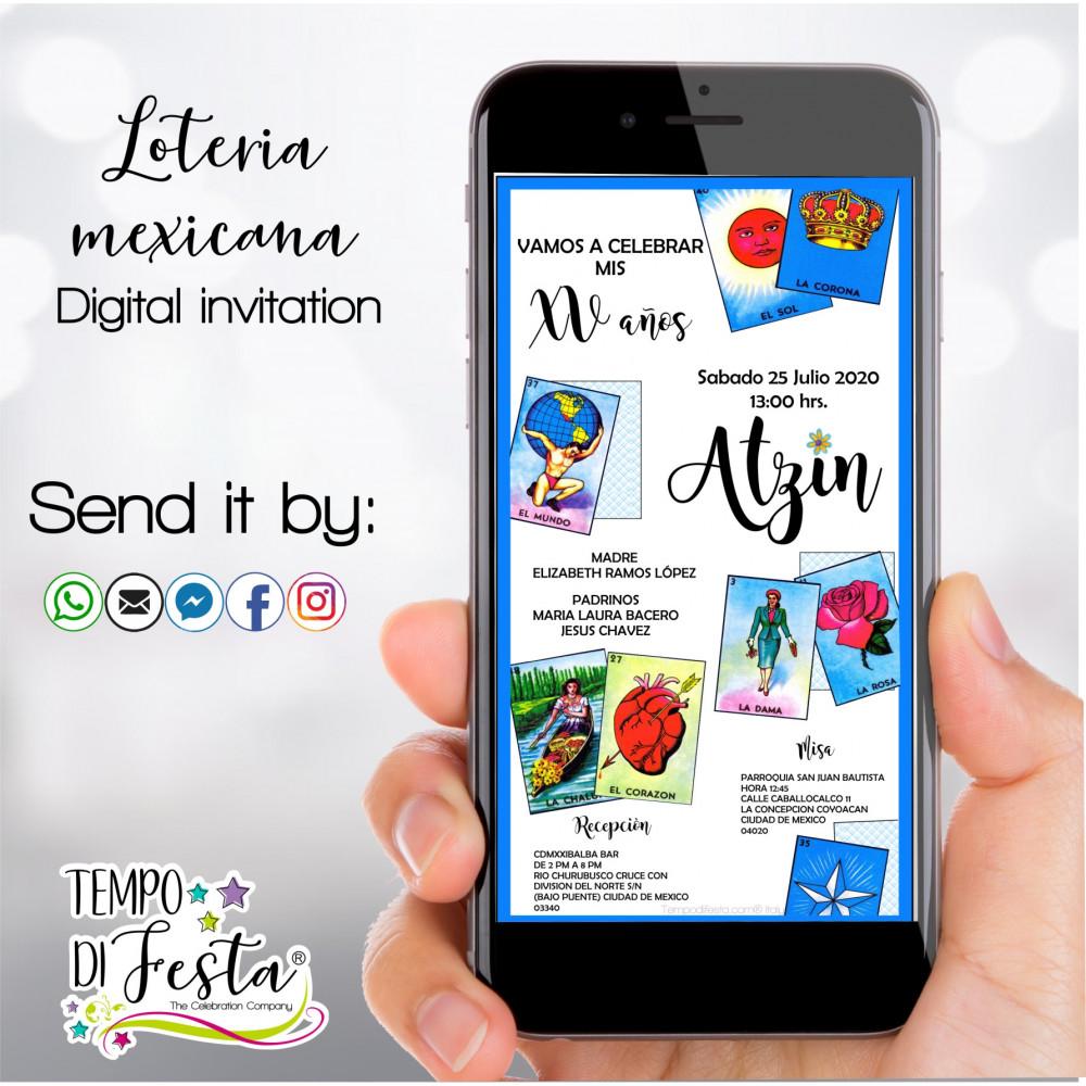 Inviti digitali a tema Loteria Mexicana  WhatsApp
