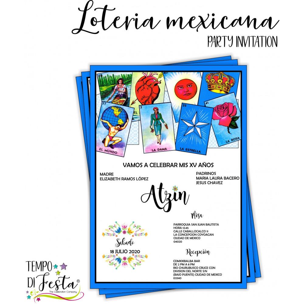Lotería Mexicana themed invitations,