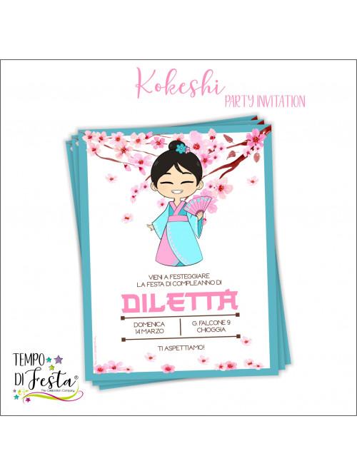 Kokeshi theme invitation