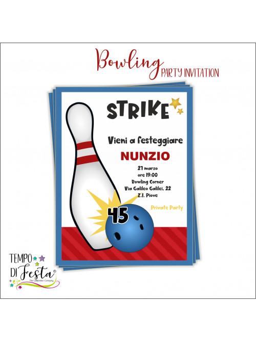 Bowling theme invitations.