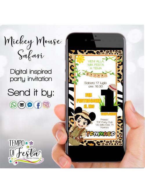 Inviti digitali Ispirazione Mickey Mouse Safari per WHATSAPP