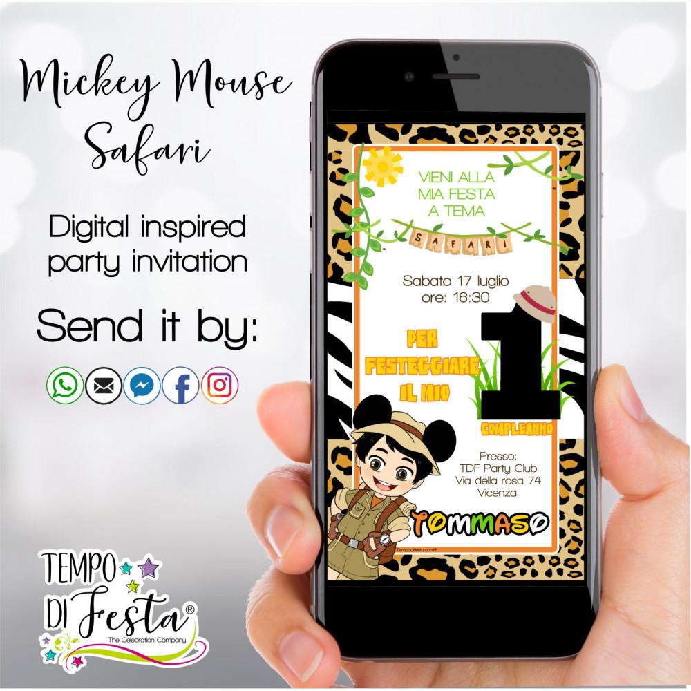 Mickey Mouse Safari inspiration digital invitation for WHATSAPP